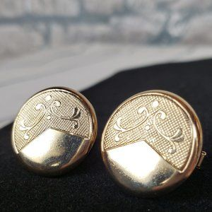 Vintage Gold Tone Metal Cuff Links Round Etched